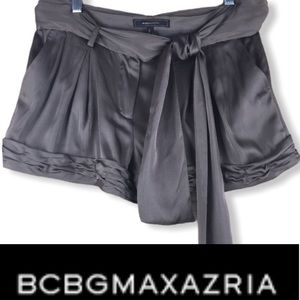BCBGMAXAZRIA Dusty Olive Satin Shorts